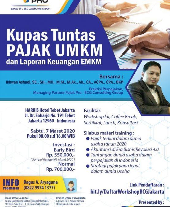 Workshop Kupas Tuntas Pajak UMKM dan Laporan Keuangan EMKM Jakarta